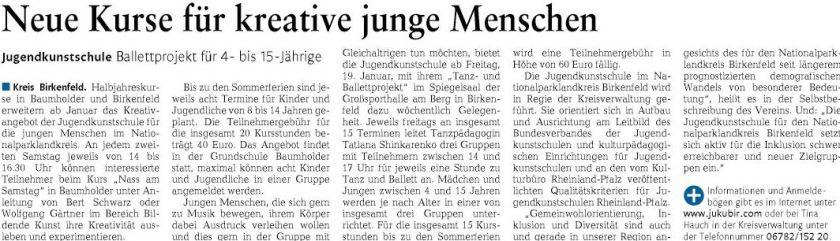 Ankündigung in der Nahe-Zeitung vom 10.01.2018